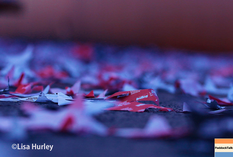 July 29-30: The confetti after the Honda Indy 200 at Mid-Ohio.