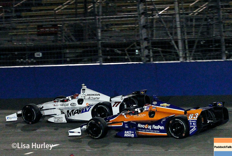 August 30: Simon Pagenaud and Charlie Kimball during the MAVTV 500 race at Auto Club Speedway.