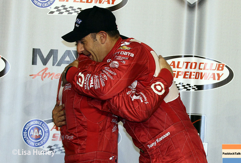 August 30:  Tony Kanaan and Scott Dixon after the MAVTV 500 race at Auto Club Speedway.