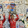 August 30:  Scott Dixon, Tony Kanaan, and Ed Carpenter after the MAVTV 500 race at Auto Club Speedway.