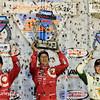 August 30:  Scott Dixon, Tony Kanaan, and Ed Carpenter after the MAVTV 500 race at Auto Club Speedway.