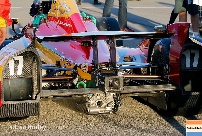August 30: Sebastian Saavedra's car before the MAVTV 500 race at Auto Club Speedway.