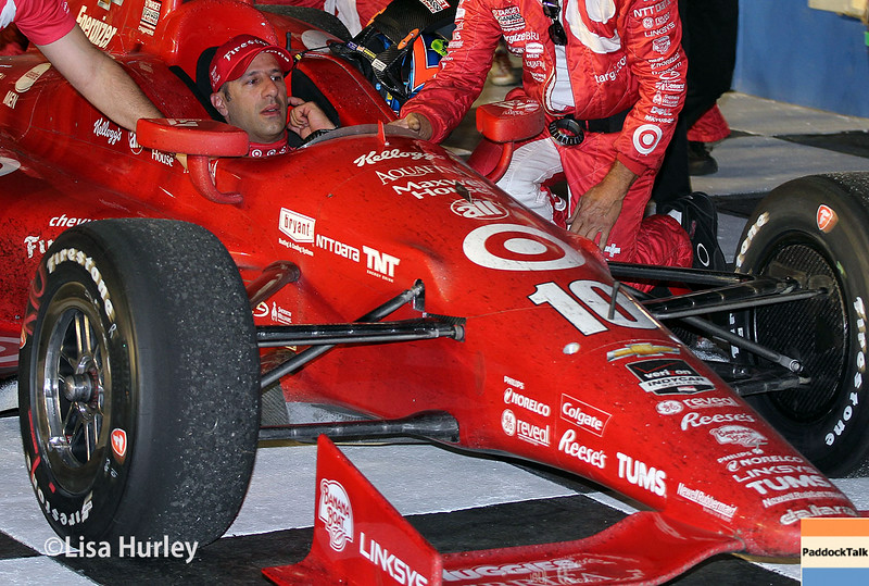 August 30:  Tony Kanaan after winning the MAVTV 500 race at Auto Club Speedway.