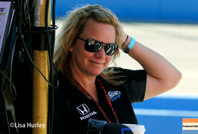 August 29: Sarah Fisher during MAVTV 500 practice and qualifications at Auto Club Speedway.