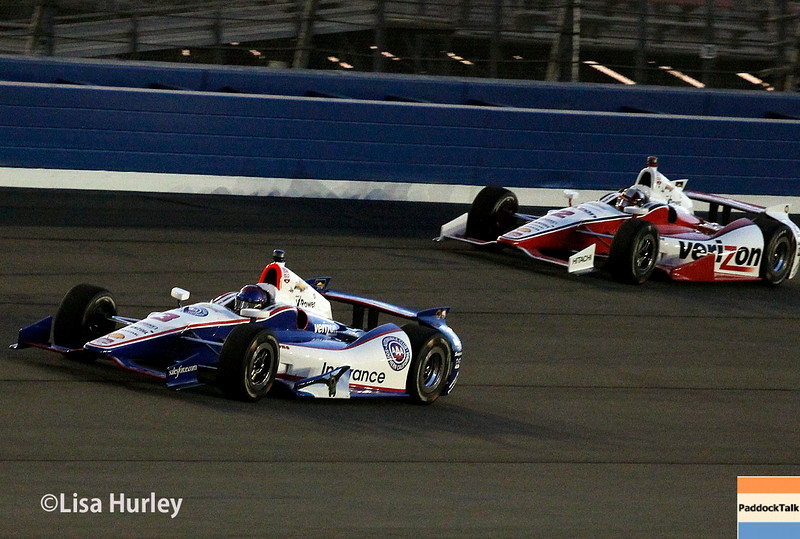 August 30: Helio Castroneves and Juan Montoya during the MAVTV 500 race at Auto Club Speedway.