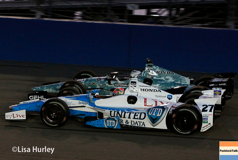August 30: Graham Rahal and James Hinchcliffe during the MAVTV 500 race at Auto Club Speedway.