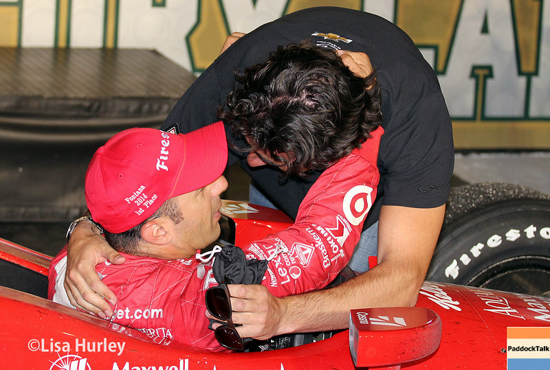 August 30:  Tony Kanaan and Dario Franchitti after the MAVTV 500 race at Auto Club Speedway.
