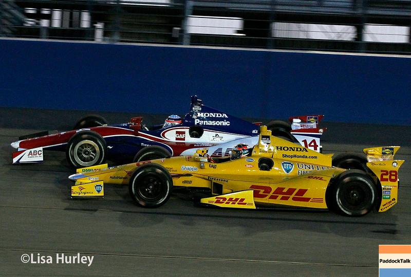 August 30: Takuma Sato and Ryan Hunter-Reay during the MAVTV 500 race at Auto Club Speedway.