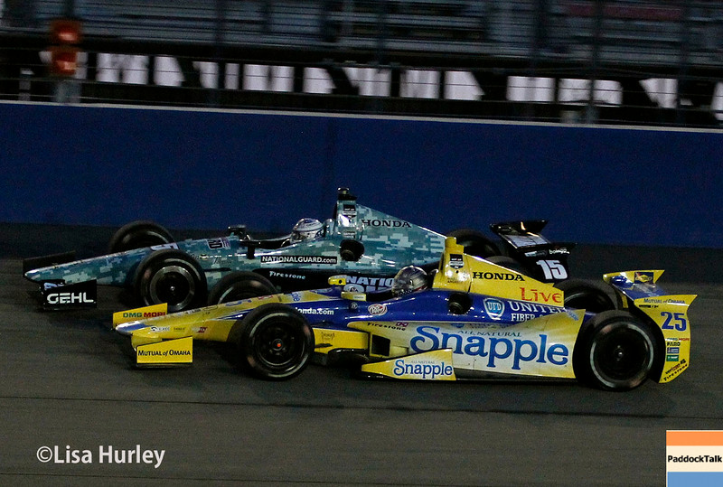 August 30: Graham Rahal and Marco Andretti during the MAVTV 500 race at Auto Club Speedway.