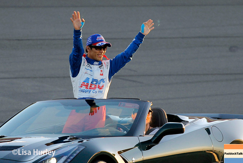 August 30: Takuma Sato before the MAVTV 500 race at Auto Club Speedway.