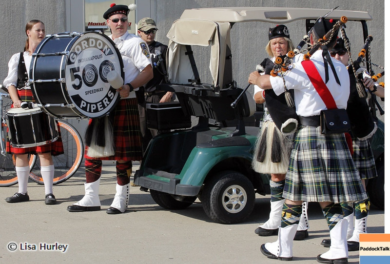 May 19: The Gordon Pipers waiting to serenade Dario Franchitti on his birthday during qualifications for the 97th Indianapolis 500 at the Indianapolis Motor Speedway