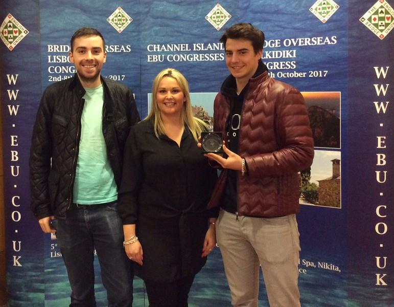 Lisbon 2017, Men Pairs winners - Dominic Rayner & Nick Dean (with Hannah Williams from Bridge Overseas)
