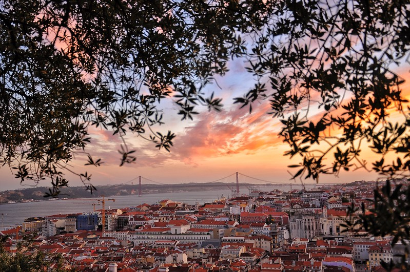 Sunset over Lisbon from the Castelo de São Jorge. 2010.