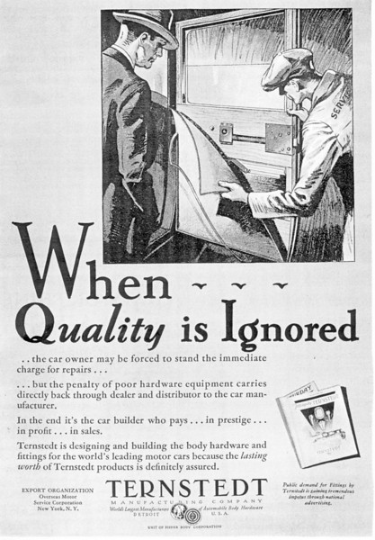 Supplier to Buick (circa 1929).  Ternstedt Manufacturing Company.  Makers of handles, Mercury Boy radiator cap, etc.