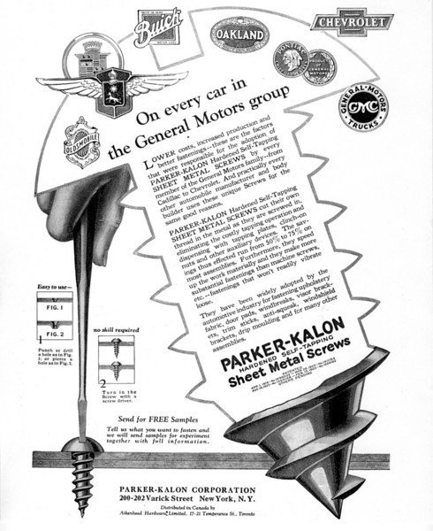 Supplier to Buick (circa 1929).  Sheet Screws.  Parker-Kalon Corporation.