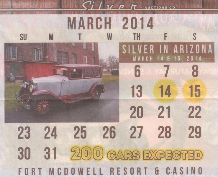 Silver Auctions ad from Mar. 2014's Hemmings featuring a 1929 Buick Sedan