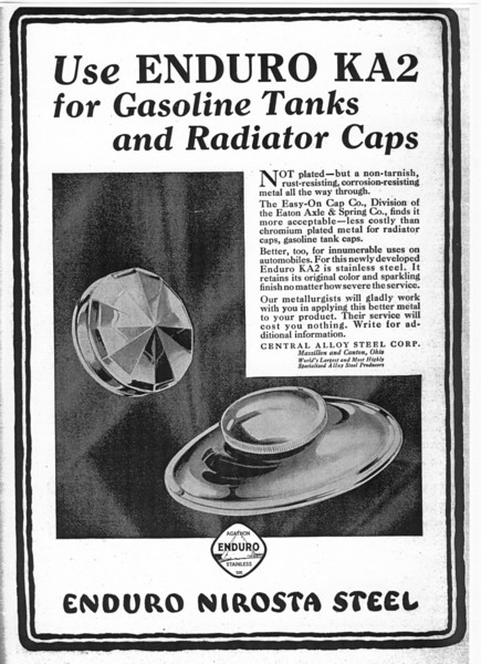 USA - Enduro Steel (stainless steel) ad featuring the 1929 Buick early radiator cap.