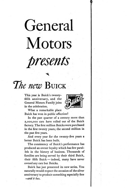 USA - GM announcement Ad of the ' 29 Buick in the 9/28 Facts about a Famous Family