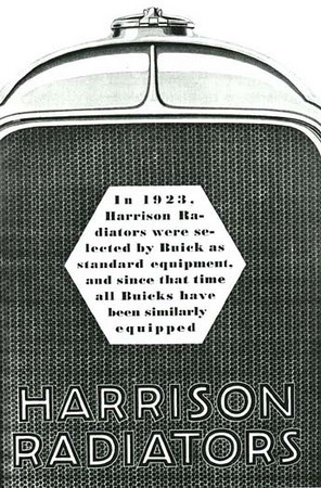 USA - Harrison Radiator ad - featuring 29 Buick rad shell / radiator cap (late style)