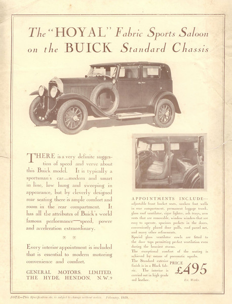 UK Sepia Ad for Hoyle Sports Sedan