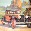 When used for the Canadian McLaughlin Buick 1929 Calendar, the Radiator, lights and bumper were cleaned up and the wheels were 29.  Most trees were replaced by golfers / Club House.  Car also has light tie-bar badge (correct for Canadian cars) and a license plate outline.