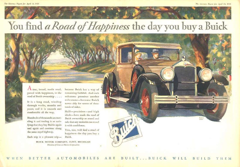 Art & Color Dept. sometimes used a similar style year over year.  These examples are mainly in the export market.  1928 Ad featuring the 28-54CC  on country road.  (See next 2 Photos).