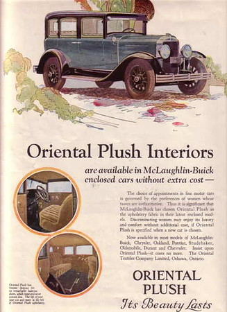 Canadian - Oriental Plush ad - featuring 29 McLaughlin Buick