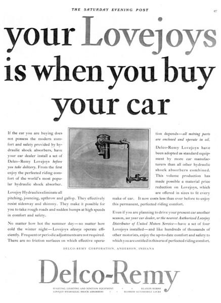 Lovejoy Shocks as used on 1929 Buicks (circa 1929)