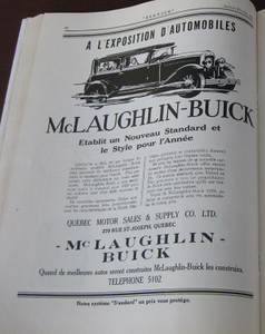 From the 1929 Quebec Auto Show Program