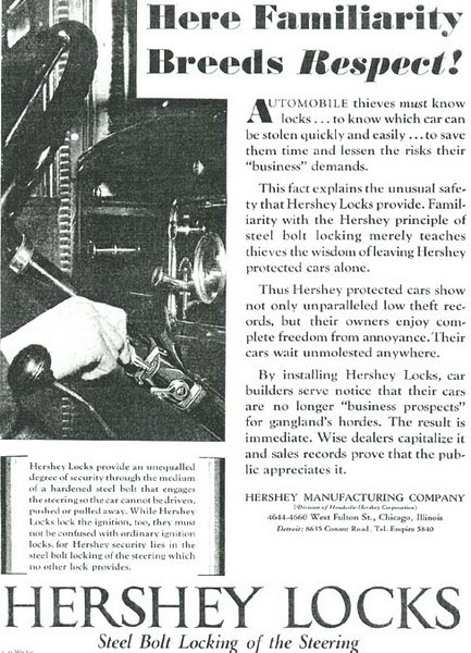 Hershey Lock ad - featuring interior of 29 Buick