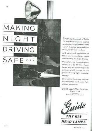 USA - Guide Tilt Ray light ad - featuring 29 Buick light at top