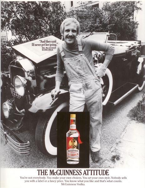 Bill McLaughlin in a McGuinnes Vodka ad (circa 1980)