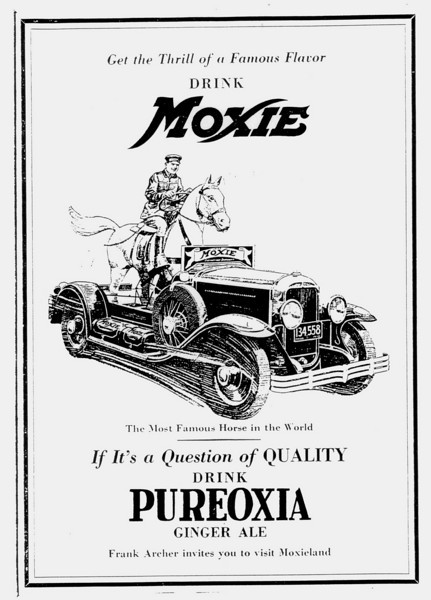 USA - Moxie soft drink ad - using 1929 Buick