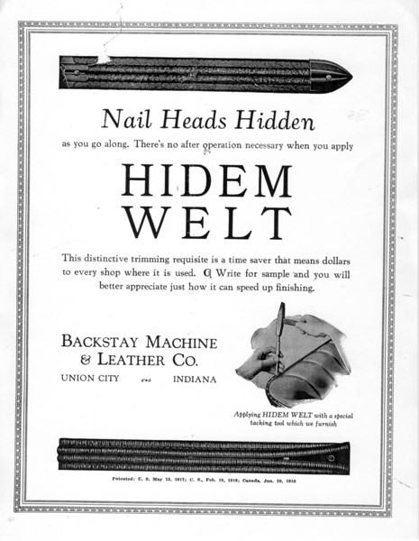 Suppplier to Buick (circa 1929).  Hidem Welt by Backstay Machine & Leather Co.