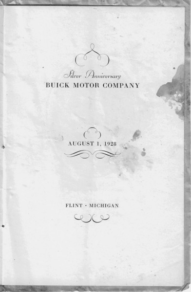 USA - Flint Dinner for GM / Buick on Aug. 1/28 celebrating 25 years of Buick: Handout - Pg. 1