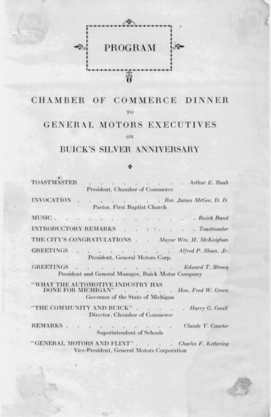 USA - Flint Dinner for GM / Buick on Aug. 1/28 celebrating 25 years of Buick: Insert to Handout - Pg. 1