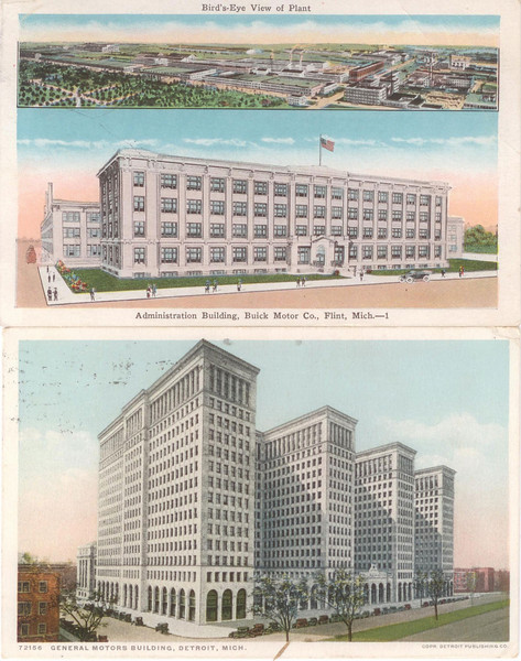 USA - Circa 1929 Post cards of Buick Admin. Building in Flint (top) and GM Headquarters, Detroit (bottom)