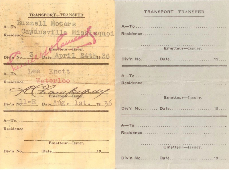 1929 McLaughlin Buick Coupe registrations - reverse where they show the transfer from owner McQuate to Buzzell Motors and then to Lee Edward Knott.