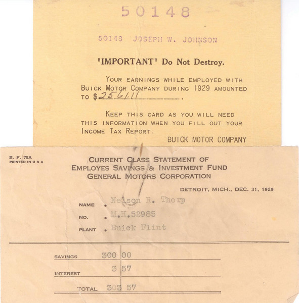 USA - Buick at Flint Yearly Earnings / Savings info (1929)