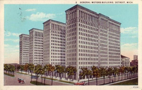 Postcard - GM Headquarters, Detroit, MI, circa 1929