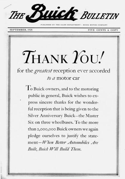 Buick Bulletin - Sept. 1929