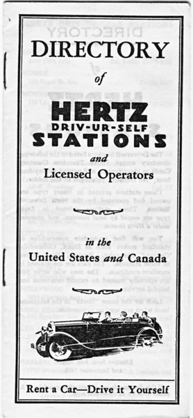 USA - Hertz Rent-a-Car - 1929 Directory featuring 29-44 Buick (roadster) on cover