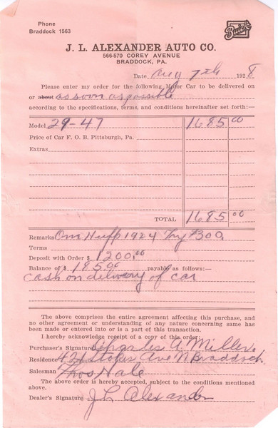 USA - Dealer Invoice for 1929 Buick Purchase (also see Buick's Follow-up letter)