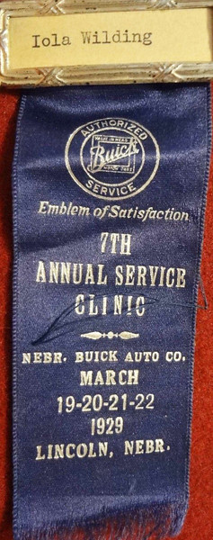 Front:  7TH ANNUAL SERVICE CLINIC RIBBON  Mar. 19-22, 1929 at Nebr. Buick Auto Co. (For sale on eBay, in Dec. 2013)