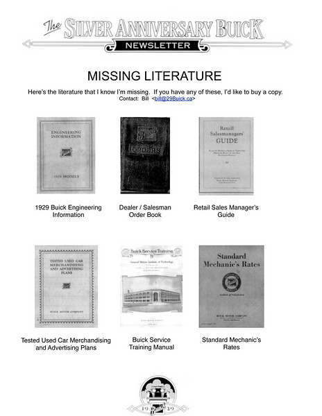 Missing Literature.  I am looking for originals or copies of these items and any other 1929 Buick literature that I don't have