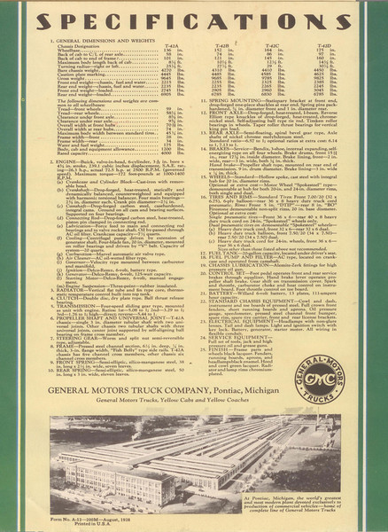 USA - Buick Powered Truck Brochure - specifications page