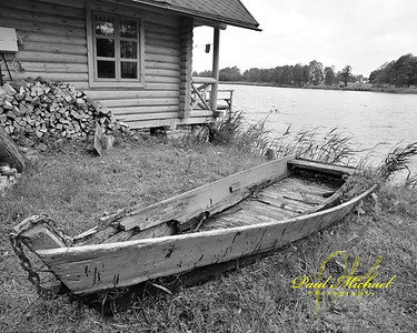 Old boat with weeds growing out of it.