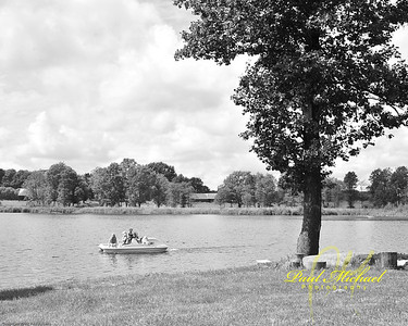 Paddle boat on the lake in Kvietkine Lithuania.
