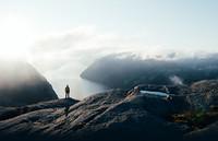 Photographer overlooking vista