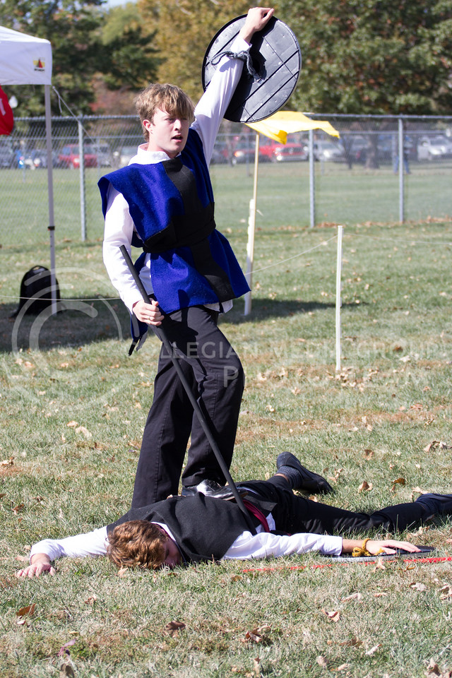 Brennan Flanagan Claims Victory over Nate Kochyt after the Joust and the battle following it at the Little Apple Renaissance Fair on the 29th October, 2017 (Alex Shaw | Collegian Media Group)